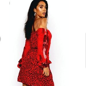 Boohoo Red Mixed Animal Print Ruched Dress